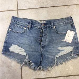 NWT free people distressed denim shorts